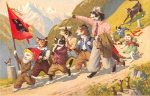 Dressed Cats Playing Instruments Walking through Mountains Postcard JD228159