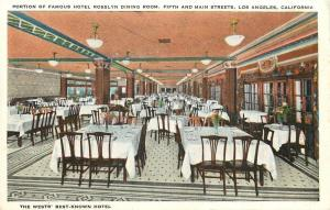 Los Angeles CA Tables Seat Six @ Hotel Rosslyn Dining Room c1930