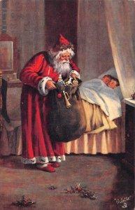 Christmas Greetings Santa Claus Red Robe Tuck Oilette Vintage Postcard AA1820