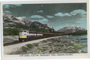 Colorized RPPC, Canadian Pacific Railroad Passenger Train in Canadian Rockies