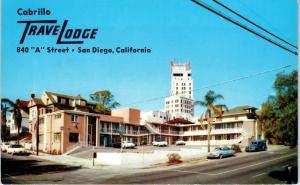 SAN DIEGO, CA California   CABRILLO TRAVELODGE   c1950s Cars  Roadside Postcard