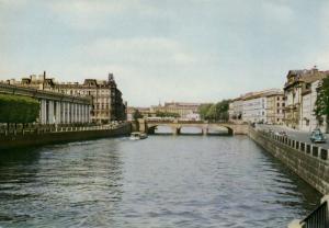 Fontanka river and Anichkov bridge, Leningrad (St. Petersburg), Russia, 1960s