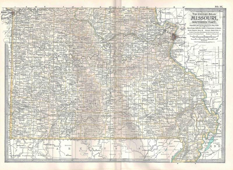 VINTAGE MAP Southern Missouri c1897 from Century Atlas