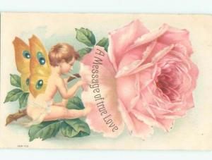 Pre-Linen Valentine CUPID PAINTING MESSAGE ON PINK ROSE FLOWER AB3221