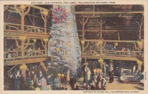 Old Faithful Inn Lobby Yellowstone National Park Curteich