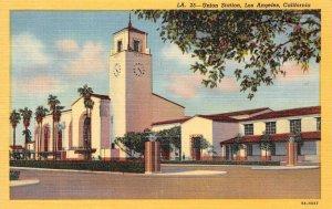 Union Station, Los Angeles, California Railroad Depot ca 1940s Vintage Postcard