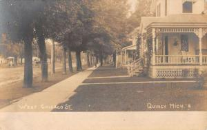 Quincy Michigan West Chicago Street Scene Real Photo Antique Postcard K40350
