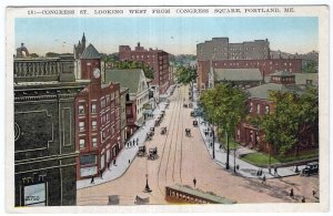 Portland, Me, Congress St. Looking West From Congress Square