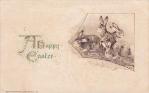 Happy Easter With Rabbits 1913 John Winsch