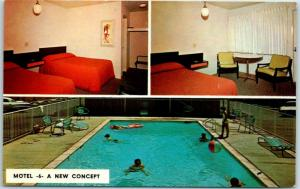 Vintage MOTEL 6 Advertising Postcard A NEW CONCEPT Room & Pool Views c1960s
