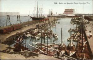 Galveston TX c1910 Postcard EXC COND Docks & Mosquito Fleet #7308