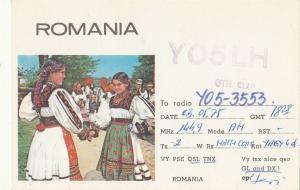 Romania Radio Amateur Station QSL card folk types