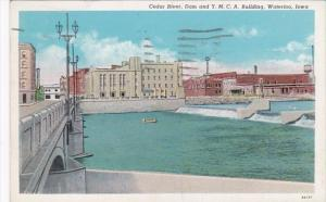 Iowa Waterloo Cedar River Dam and Y M C A Building 1943 Curteich