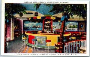 1940s New York City Postcard HAVANA MADRID Cuban-Spanish Restaurant Bar Unused