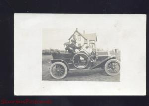 RPPC MILNOR NORTH DAKOTA ANTIQUE AUTO CAR AUTOMOBILE REAL PHOTO POSTCARD ND