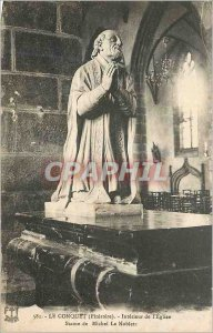 Old Post Card Le Conquet (Finistere) Interior of the Church Statue of Michel ...