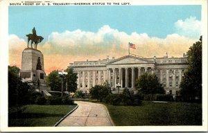 Vtg 1920s South Front US Treasury Building Sherman Statue Washington DC Postcard