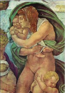 The Sistine Chapel The Flood Citta Del Vaticano Art Repro Unused Postcard D50