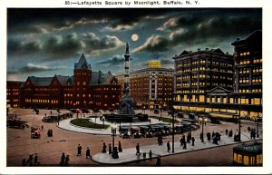 New York Buffalo Lafayette Square By Moonlight
