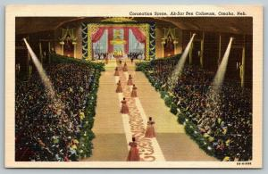Omaha Nebraska~Ak-Sar-Ben Coliseum Interior~Royalty~Ball Coronation~1948 Linen