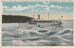 Steamer in Long Sault Rapids - St Lawrence River, Ontario, Canada - WB