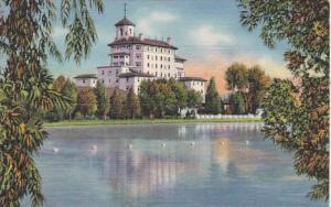 Colorado Vista Of Broadmoor Hotel From The Lake Pikes Peak Region Curteich