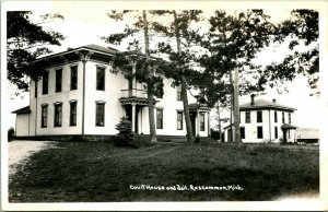 Vtg Real Photo Postcard RPPC Roscommon MI Courthouse and Jail UnP EKC 1930-50