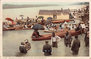 Circa-1910 Blacks Phostint PC: Mass Baptism By Immersion in Mississippi River
