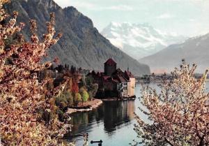 Switzerland Lac Leman Le Chateau de Chillon et les Dents du Midi Castle Lake