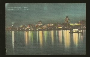 Postmark 1947 Vancouver BC Waterfront at Night Linen  Postcard