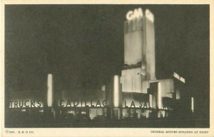 1933-34 Chicago World's Fair Postcard General Motors Building at Night