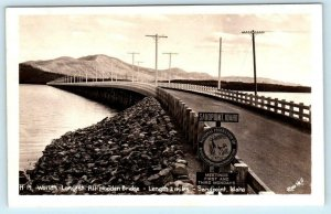 RPPC SANDPOINT, Idaho ID ~ World's Longest ALL WOODEN BRIDGE Ross Hall Postcard