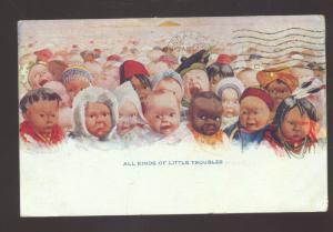 BLACK AMERICANA BLACK BABY BABIES NEW MEXICO VINTAGE POSTCARD HALLSDALE IND