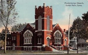 Cedar Falls Iowa~Presbyterian Church~Cars Sign~Houses~1914 Postcard