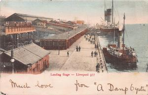 Landing Stage, Liverpool, England, Early Hand Colored Postcard, Used in 1903