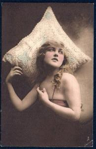 Glamorous Woman & Lace Pillow Unused c1910s