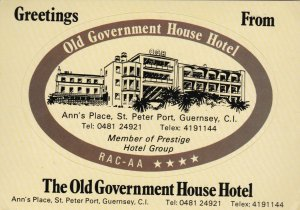England Guernsey Old Government House Hotel Vintage Luggage Label lbl0286