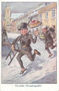 Girl chimney sweep chasing boy Austria New Year artist signed fantasy postcard