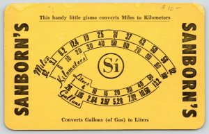 Sanborn's Restaurant~Mexico Money Chart for Tourists~Gas to Liters~1955 Adv
