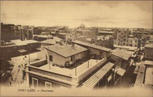 Port Said Egypt Panorama c1915 Postcard