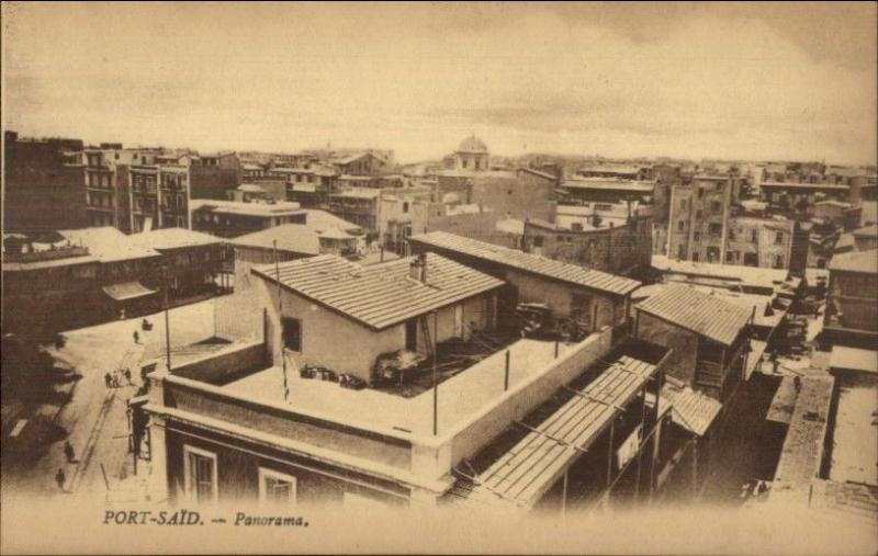 Port Said Egypt Panorama c1915 Postcard