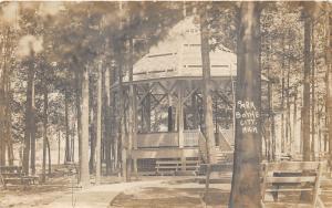 Boyne City Michigan~Park Scene~Pavilion Shaded by Trees~Benches Around~1909 RPPC