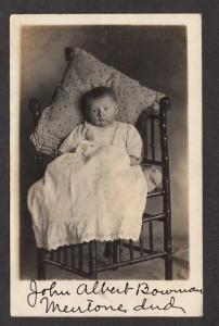 IN John Albert Bowman Boy Child William Ora Mentone Indiana Ind RPPC Postcard RP