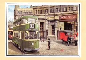 Postcard Art Trams Liverpool c1938 Central Station by G.S. Cooper #990
