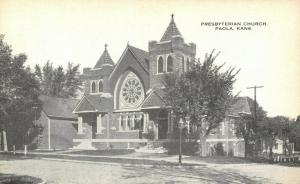 Paola Kansas~Presbyterian Church~Neighborhood Homes~1914 B&W Postcard