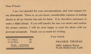 NORTH HOLLYWOOD, California, 1900-10s; Charge Request for Autographed Photos