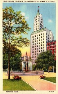Tennessee Memphis Court Square Fountain Columbian Mutual Tower In The Distanc...