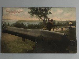 1907 postcard of a canon in Battery Park in Burlington, VT