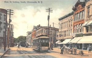Gloversville NY Main Street Storefronts Trolley Looking South Postcard