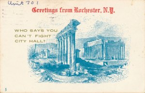 Greetings from Rochester NY New York Village Print Humor Fight City Hall pm 1981